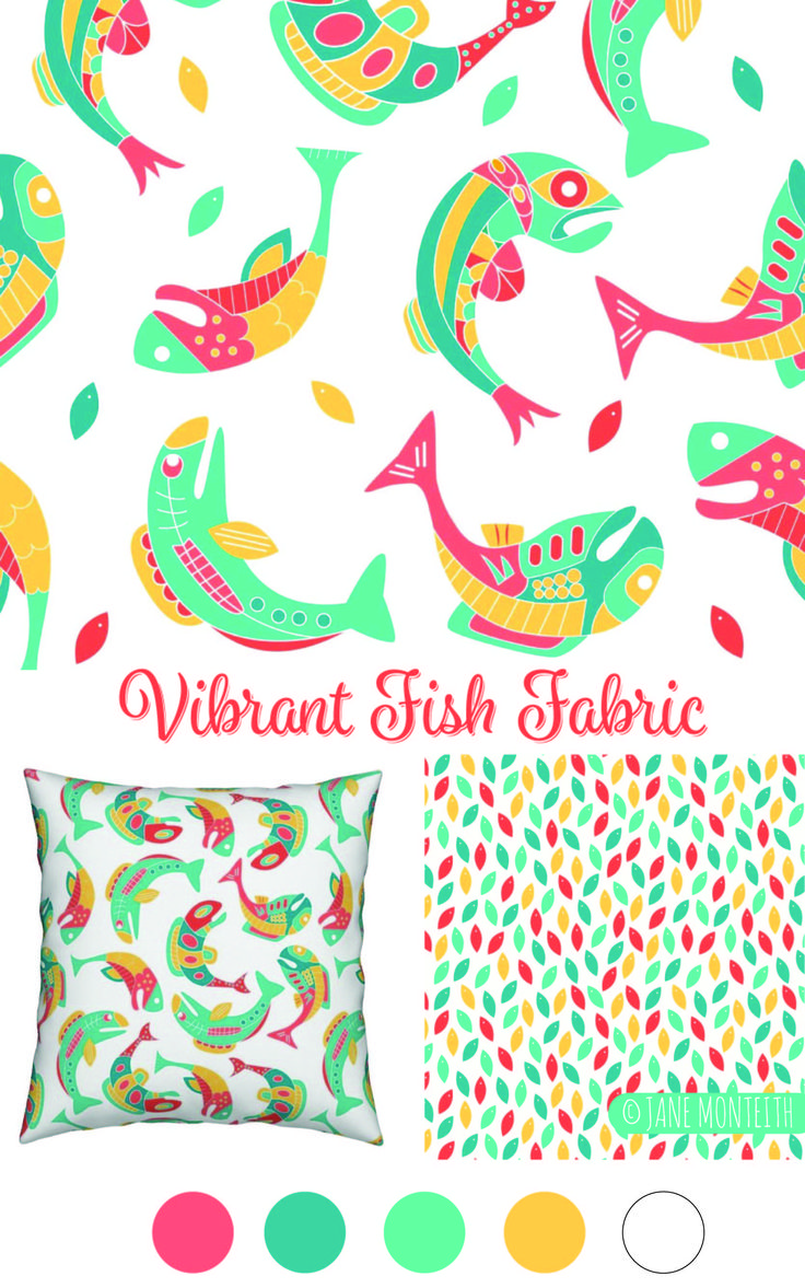 Go Fish with these pastel coloured fabrics from Spoonflower!