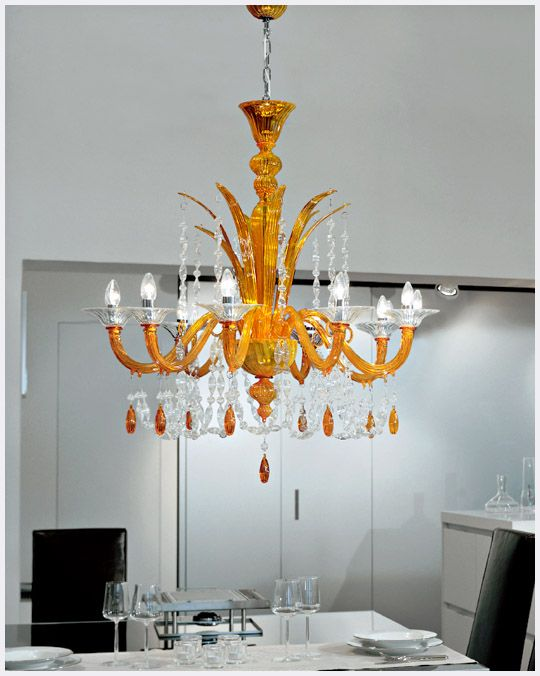 Traditional Venetian Chandelier With Modern Contemporary Touch 8 Lights Orange Amber Murano Glass Lighting