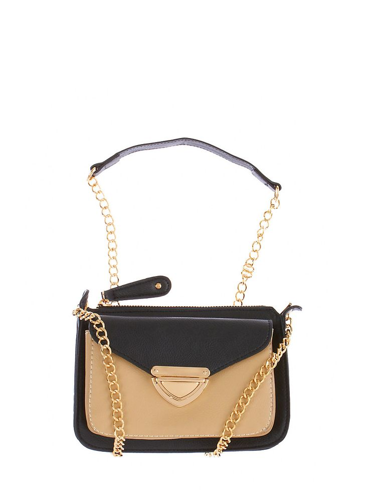 Rainbow Shops Colorblock Faux Leather Flap Pocket Crossbody Bag with Chain Strap $16.99