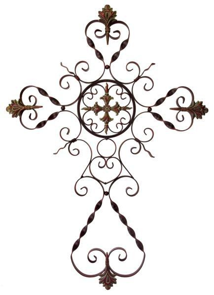 """Parigi Wall Cross - Traditional ornate perigee dimensional wall cross in wrought iron. Material: Wrought iron 100%. 37""""h x 26.5""""w."""