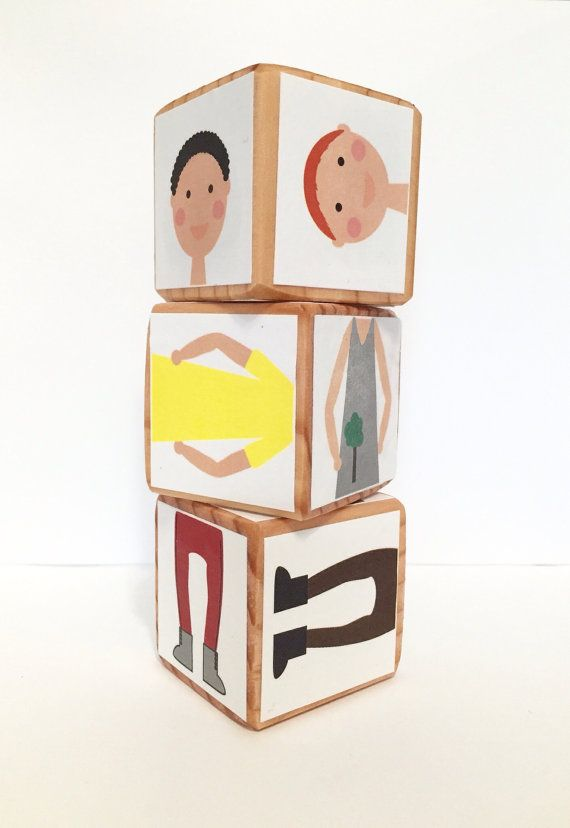 Children can mix & match this set of 3 blocks to make countless people combinations.
