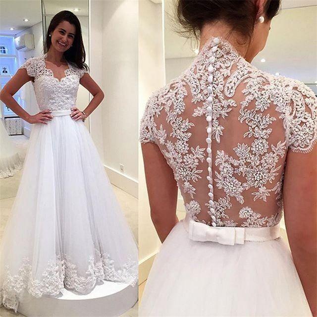 2016 Luxo Vintage Longo A Linha de Vestidos De Casamento Da Princesa de Tule Branco Apliques Mangas Curtas Vestidos de Noiva Robe De Mariage P16844