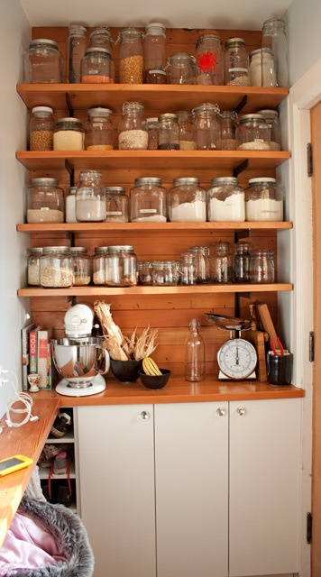 jars: Glasses Container, Open Shelves, Kitchens Ideas, Glasses Jars, Organizations Kitchens, Small Spaces, Mason Jars, Kitchens Storage, Pantries Storage