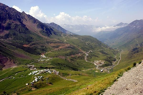 The beautiful view from atop the Col du Tourmalet summit.