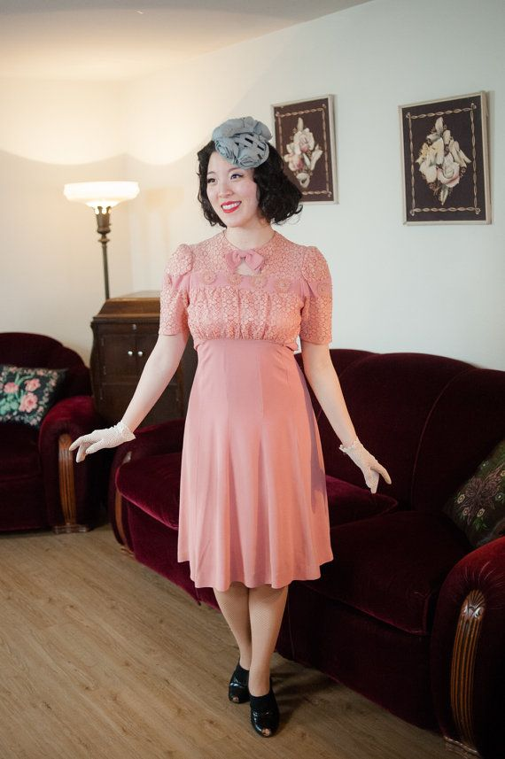 Vintage jaren 1930 jurk  ideale roze Rayon crêpe Late door FabGabs