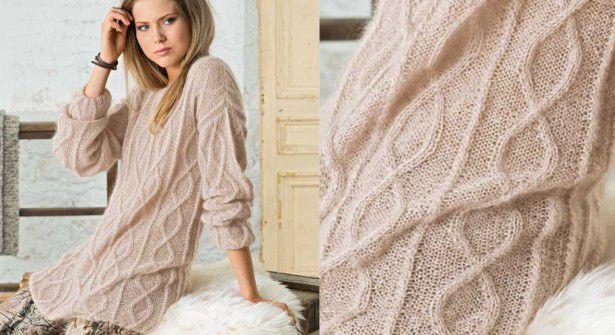 Modèle : tricoter un pull long beige à torsades