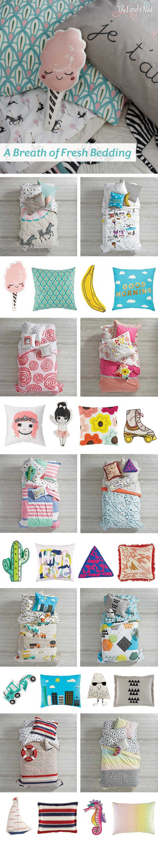 We've got bedtime covered with our brand new kids bedding sets. The Land of Nod's collection includes amazing styles for every girl or boy's bedroom. From princess bedding and nautical bedding to construction bedding and floral bedding, there's a style that'll catch any kid's eye. Plus, complement each set with throw pillows and a sham to match.