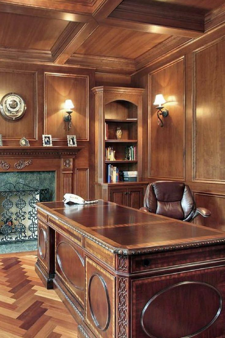 Oldworld style home office with wood paneling, large