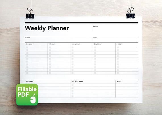 Fillable Weekly Planner Student Agenda PDF Printable To Do List Action Plan Project