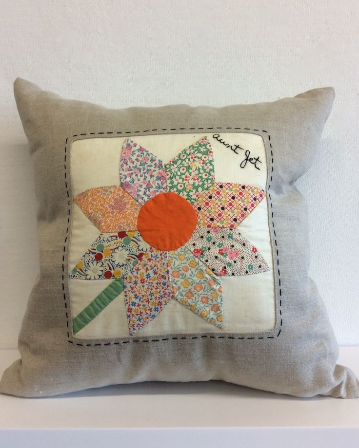 """Aunt Jet"" Vintage Quilt Block Pillow"