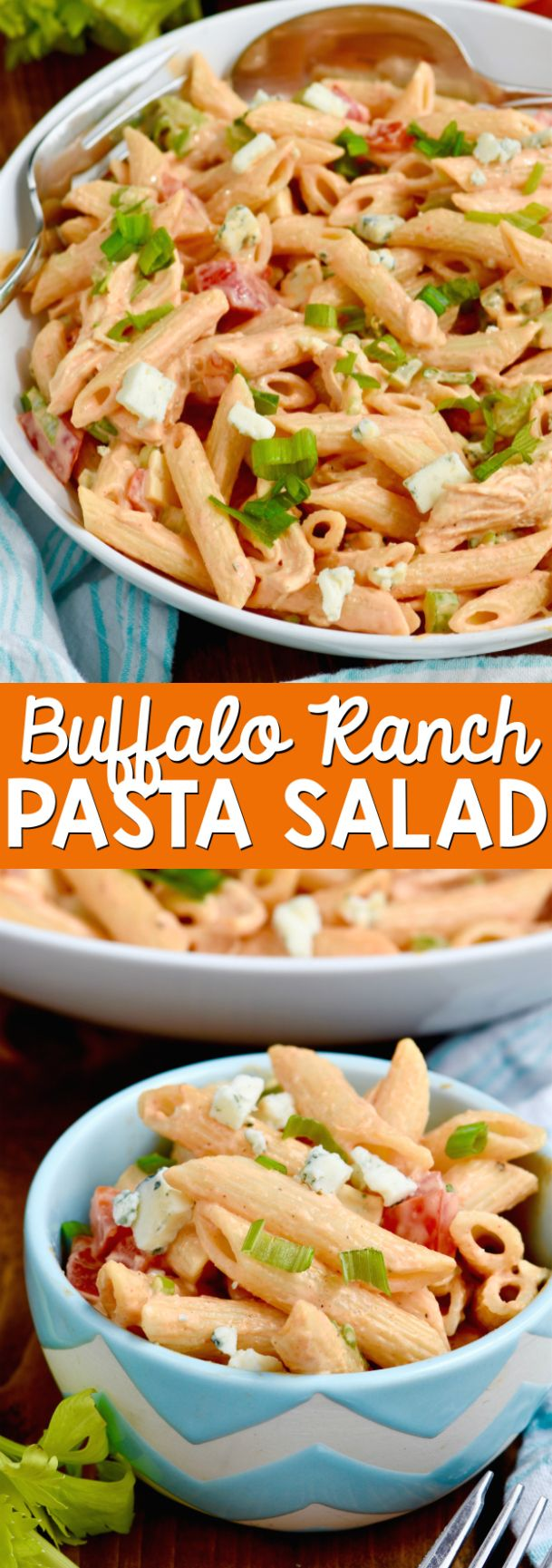 This Buffalo Ranch Pasta Salad is easy to throw together and totally delicious! Perfect for BBQs, picnics, and family gatherings!