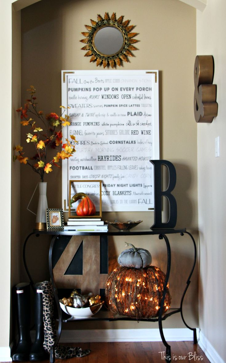 Fall entryway - fall vignette - entryway table styling - fall decor - neutral fall decor - fall word art 1 - This is our Bliss
