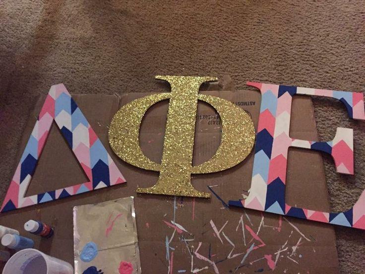 delta phi epsilon sorority letters gold glitter pink blue
