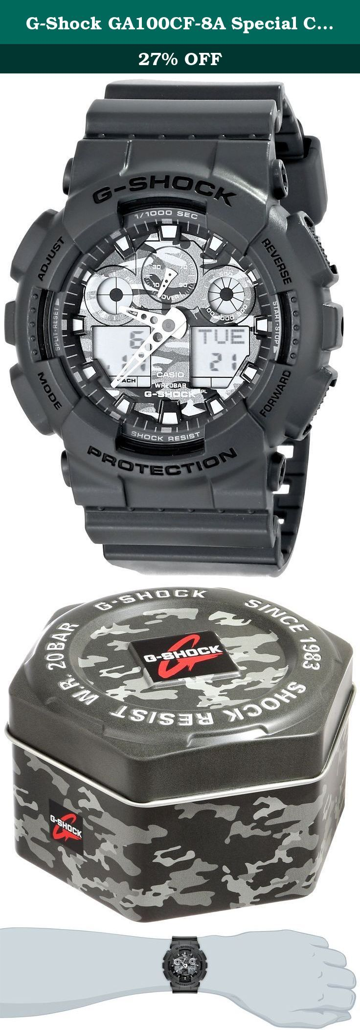 "G-Shock GA100CF-8A Special Color Models Luxury Watch - Grey/Camouflage / One Size. For 25 years Casio G-Shock digital watches are the ultimate tough watch. Providing durable, waterproof mens digital watches for every activity. G-Shock is the ultimate tough watch. It was born from a developer's dream of ""creating a watch that never breaks."" Guided by a ""Triple 10"" development concept, the design teams sought a watch with 10-meter free-fall endurance, 10-bar water resistance and a 10-year..."