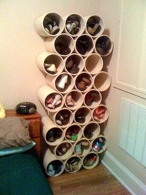 Shoe storage, use PVC pipes, available from DIY stores, cut to size and glued together.