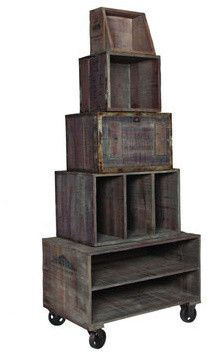 Artifacts Wine Crate Display - contemporary - furniture - charlotte - The Classy Cottage