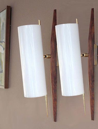 Pair Mid Century Modern Teak Sconce Wall Lamp Light Danish