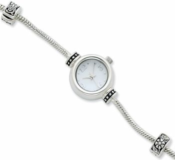 Round Face Sterling Silver Watch for Pandora Style Charms