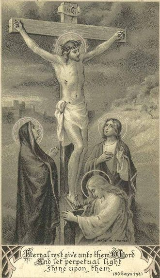 """""""Eternal rest grant unto them, O Lord, and let perpetual light shine upon them. May they rest in peace. Amen."""" #HolySouls #Catholic #HolyCard"""