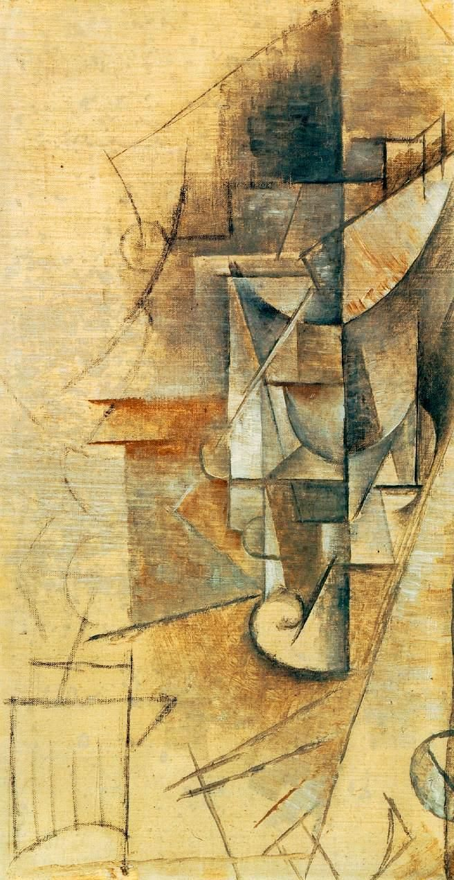 Pablo Picasso - Wine Glass 1911. Cubism art admired by Secret Art Collector.