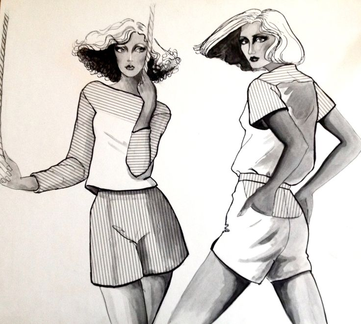 Vintage Fashion Illustration By Faye Rose 1977
