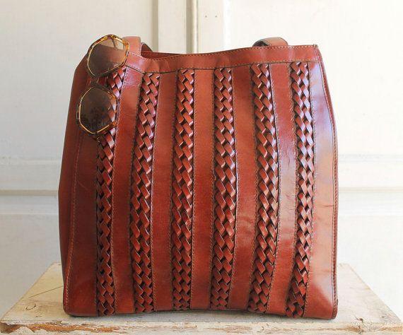 Aignier tejido Vintage cuero bolso rojizo por shopiverlee en Etsy