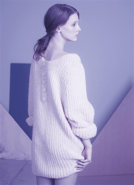 1316 DIY: Modell 10 Lang genser med knapper bak #strikk
