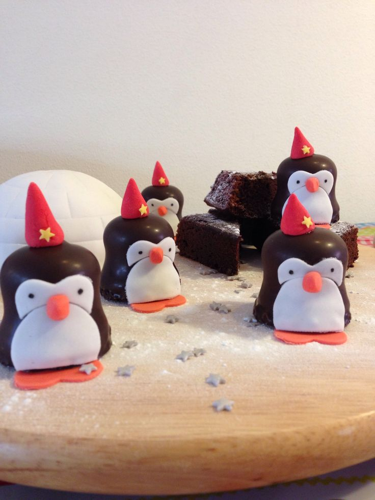 Iglo cake, pinguïns, brownies