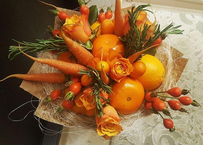 Съедобный букет из фруктов и овощей, а также других ...