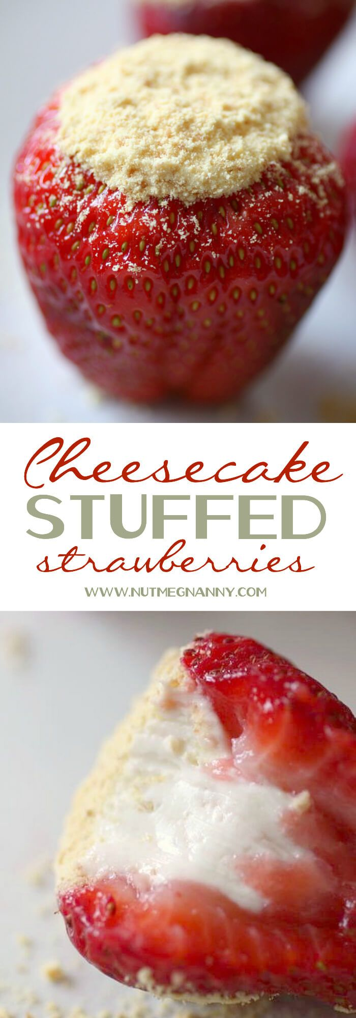 These Cheesecake Stuffed Strawberries are the perfect Valentine's Day dessert. Filled with creamy cheesecake filling and topped with a sprinkling of graham cracker crumbs.