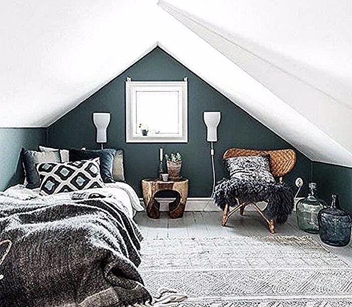 Chambre Cocoon Deco Idees Pente Sous Chambre Mansardee Couleur Mur Bleu Petrole Tapis Gris Couverture De Lit Gris Coussins En Gris In 2020 Modern Bedroom Decor Luxurious Bedrooms Bedroom Layouts
