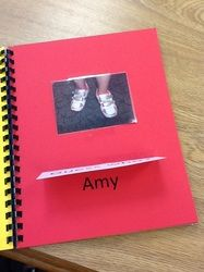 Pete the Cat activities:  This teacher took a photo of each child's shoes then made a class book. The front of the flap says: Guess who! You lift it up to reveal the child's name.  Fun way to help little ones learn their names.  Read Pete the Cat's Rockin' in my school shoes, or Pete the Cat I Love My White Shoes.