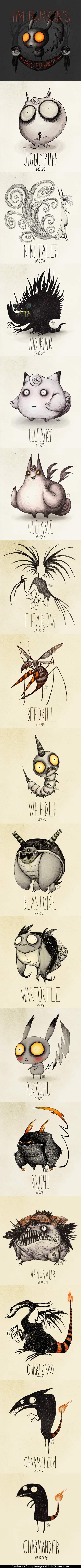 Tim Burton Inspired Pokemon Drawings