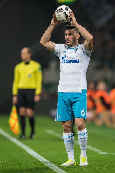 Sead Kolasinac of Schalke during a throw-in during the Bundesliga match between Bayer 04 Leverkusen and FC Schalke 04 at BayArena on April 28, 2017 in Leverkusen, Germany.