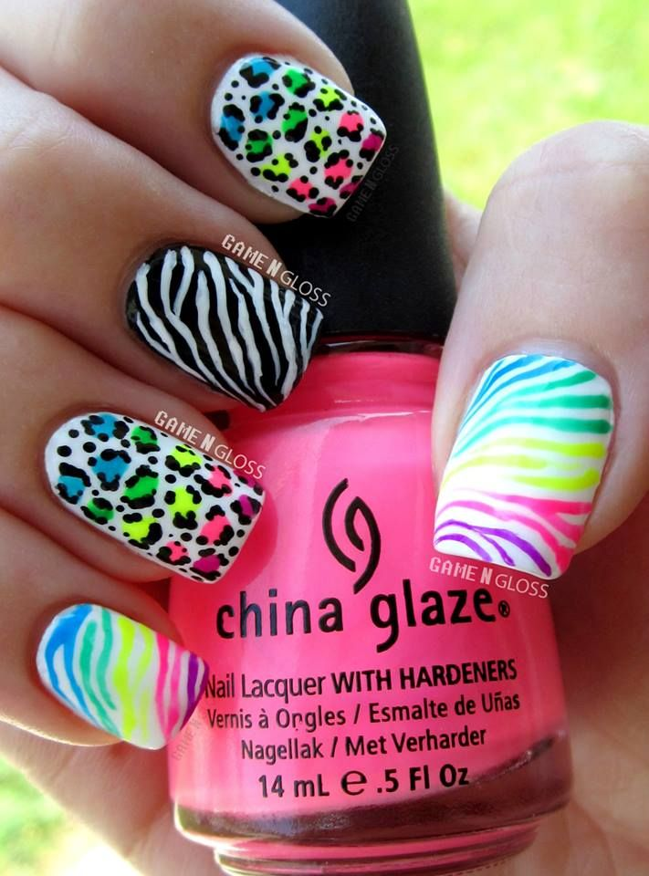 Cool summer neon nail art #animalprint - Instagram @GameNGloss