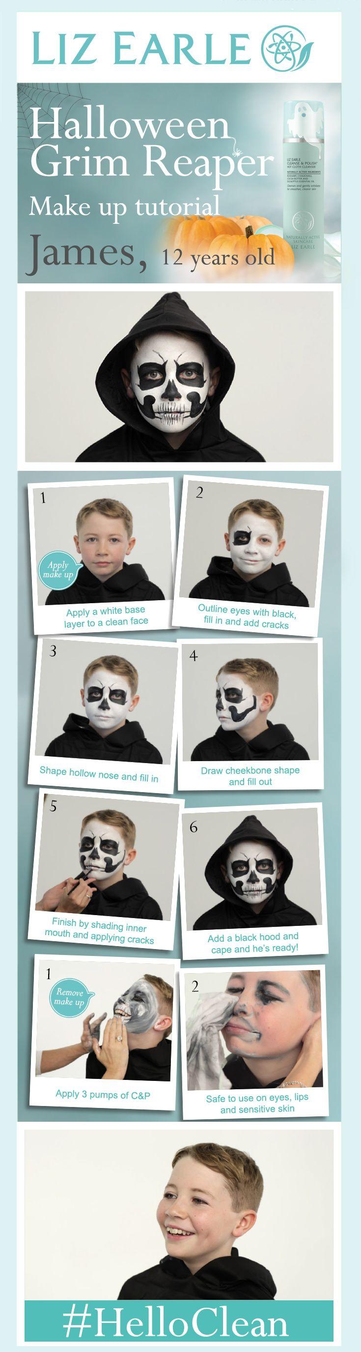 Grim Reaper Halloween make up tutorial! | #HelloClean