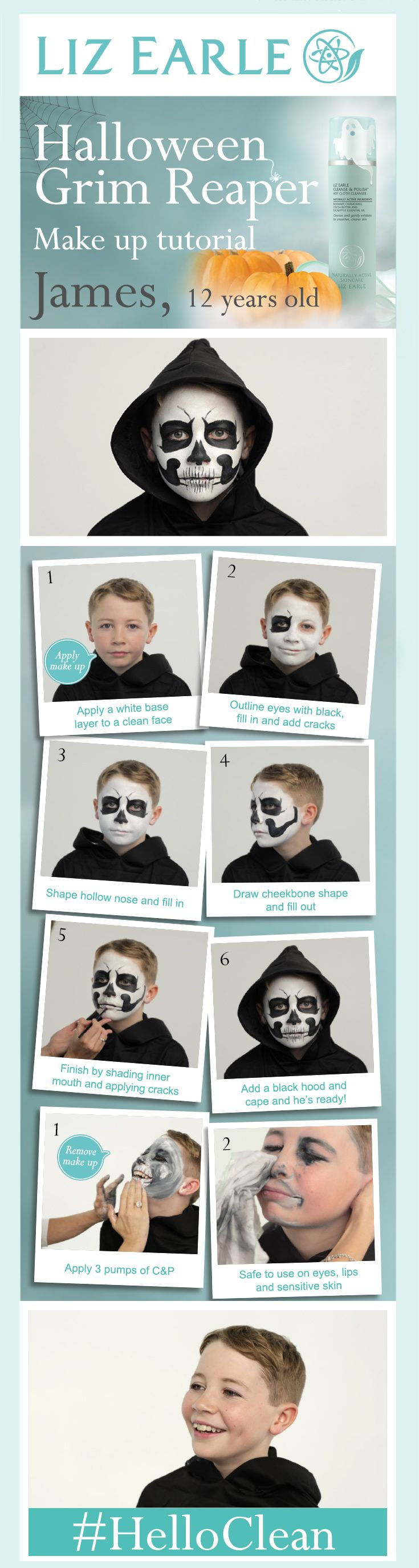 Grim Reaper Halloween make up tutorial!   #HelloClean