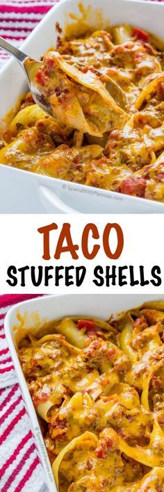 Taco Stuffed Pasta Shells. Jumbo pasta shells filled with a creamy seasoned beef & vegetable mixture and topped with cheese. This is the perfect weeknight meal and fun twist on Taco Tuesday!