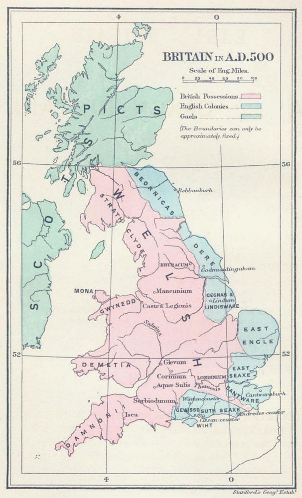 Britain in AD 500: The areas shaded pink on the map were inhabited by the Celtic Britons, here labelled Welsh. The pale blue areas in the east were controlled by Germanic tribes, whilst the pale green areas to the north were inhabited by the Gaels and Picts.