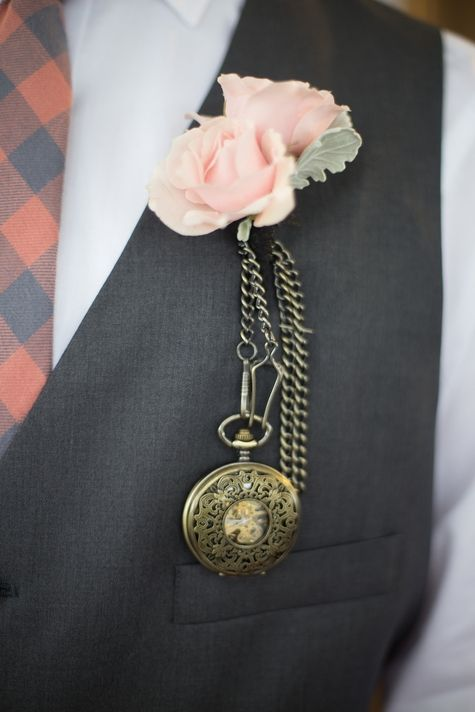 Dusty Pink Rose and Pocket Watch Boutineer // Kim Schaffer Photography // http://www.theknot.com/submit-your-wedding/photo/b567b081-b21d-4a2d-b42a-39ac4fac60b0/Oliver-and-Anna