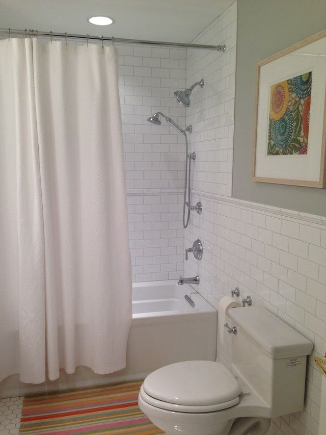 Warm Gray Grout White Subway Warm Bathroom