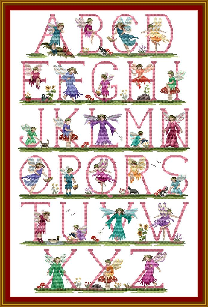 cross stitch faerie alphabet