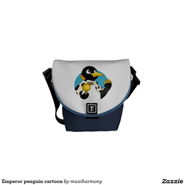 Emperor penguin cartoon messenger bags