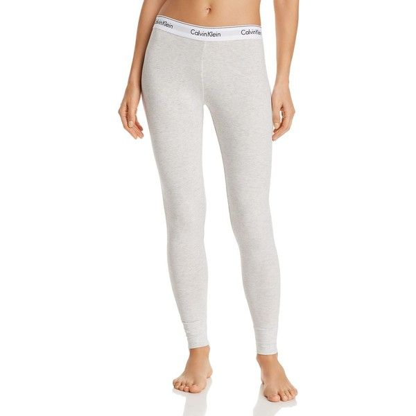 Calvin Klein Modern Cotton Lounge Leggings ($48) ❤ liked on Polyvore featuring pants, leggings, white pants, white cotton leggings, white leggings, neon pants and calvin klein trousers