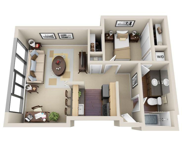 1x1 516-525 Sq. Ft. Floor Plan 1