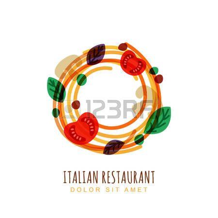 Doodle disegnato a mano illustrazione di spaghetti italiani con pomodoro, funghi e basilico. Astratta Vector logo modello di progettazione. Concetto di tendenza per l'etichetta pasta, menu del ristorante, caff�, fast food, pizzeria. photo