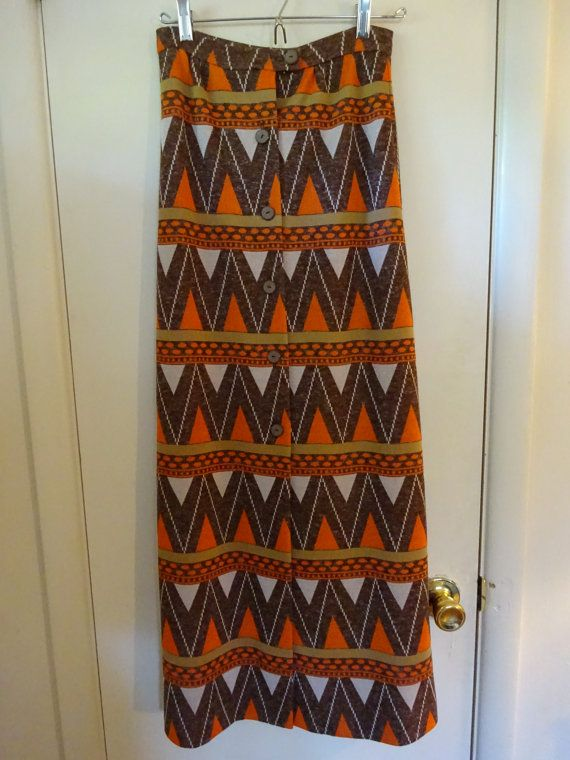 Vintage Handmade Skirt, Chevron Print Skirt, Polyester Knit Skirt, Long Skirt - FREE SHIPPING
