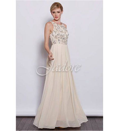 Jadore - Pattern Beaded Bodice Dress  Pattern beaded and jewelled bodice with box pleat full length skirt.    100% Polyester    BUY NOW