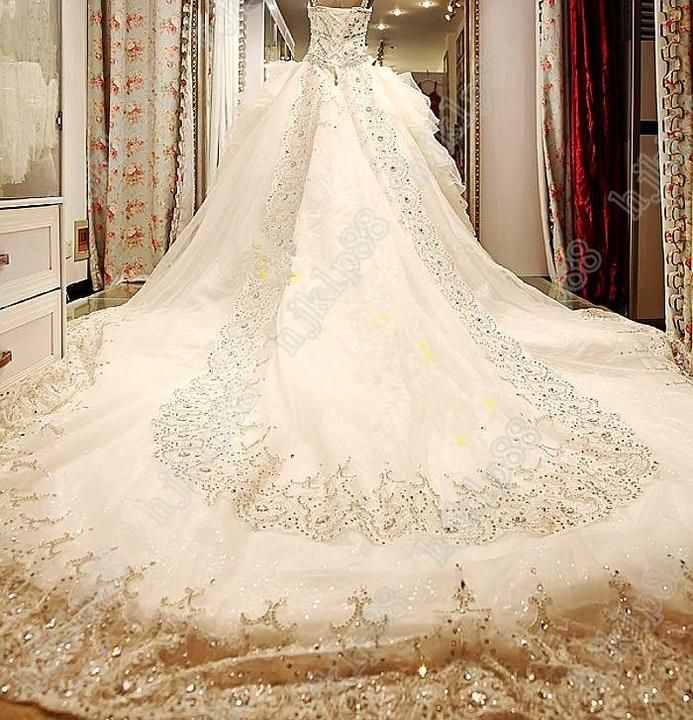 Luxury Beaded Crystal Organza Empire Sweetheart Strapless Wedding Dresses Dress Bridal Gown