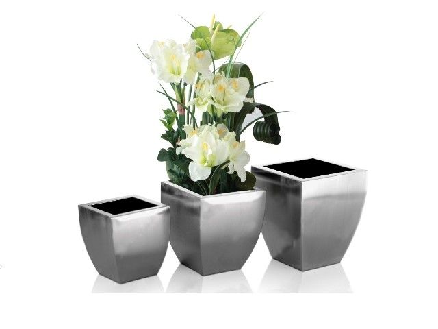Ferris Planter Box Brushed Stainless Steel Vases For Modern Home Decoration By Nova